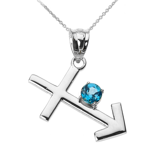 White Gold Sagittarius Zodiac Sign December Birthstone Pendant Necklace