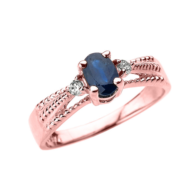 Elegant Rose Gold Diamond and Blue Sapphire Proposal Engagement Ring