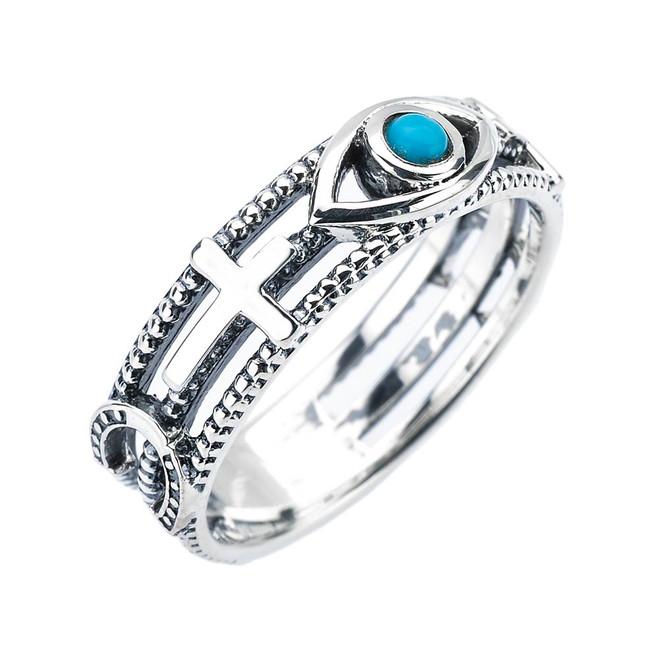 Sterling Silver Milgrain Sideways Cross Turquoise Evil Eye Good Luck Ring