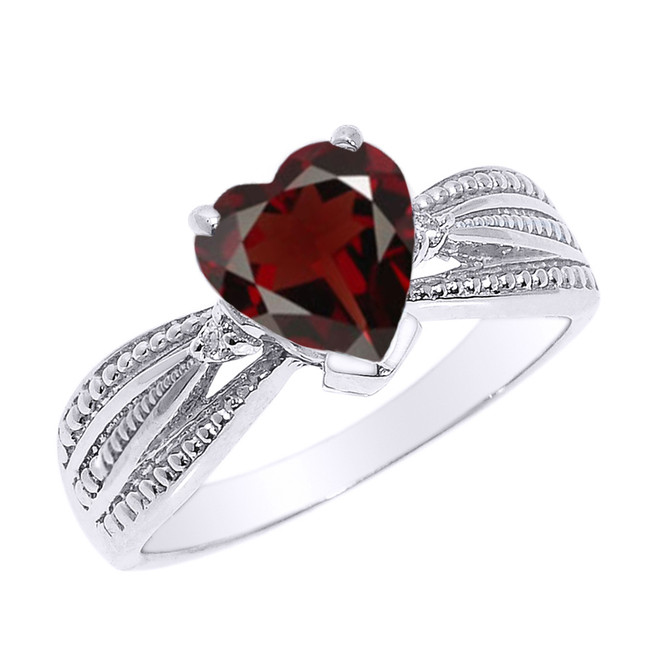 Beautiful White Gold Garnet and Diamond Proposal Ring