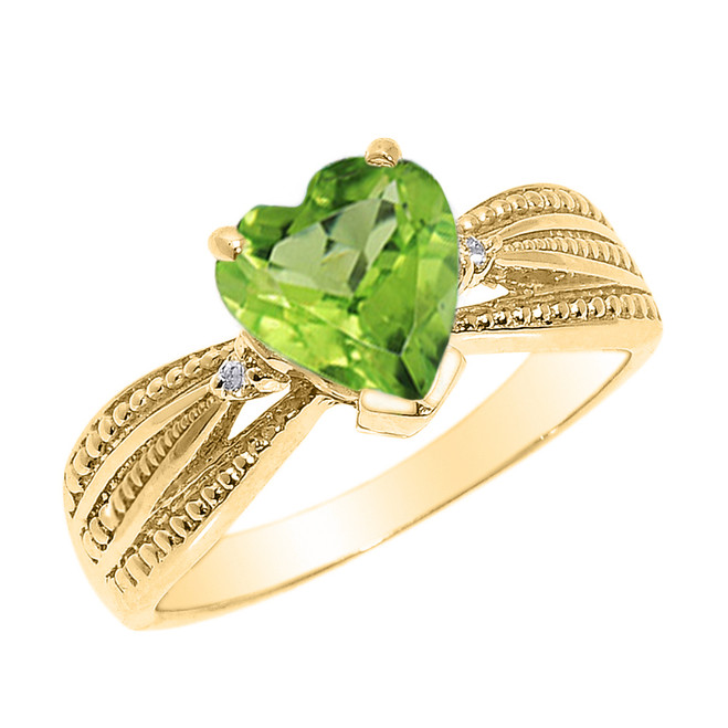 Beautiful Yellow Gold Peridot and Diamond Proposal Ring