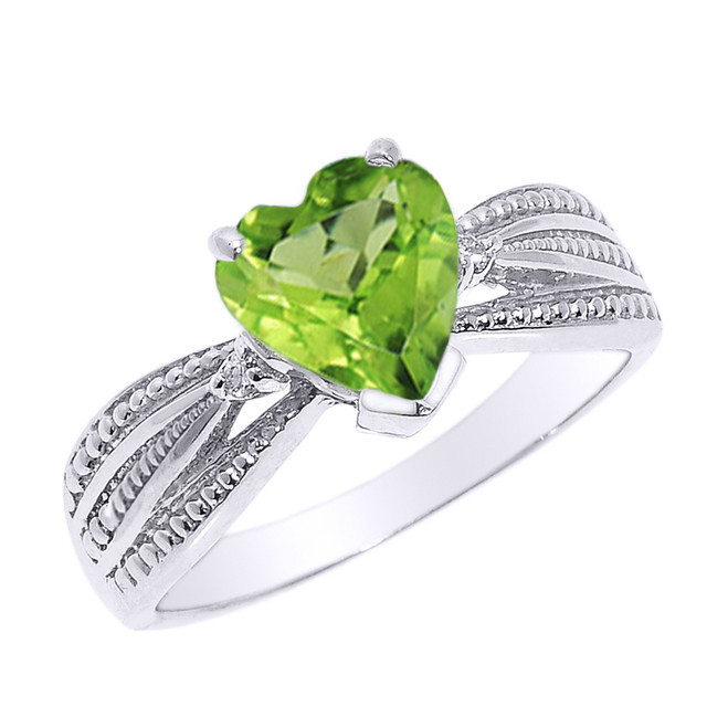 Beautiful White Gold Peridot and Diamond Proposal Ring