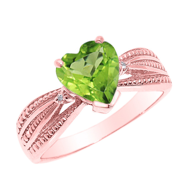 Beautiful Rose Gold Peridot and Diamond Proposal Ring