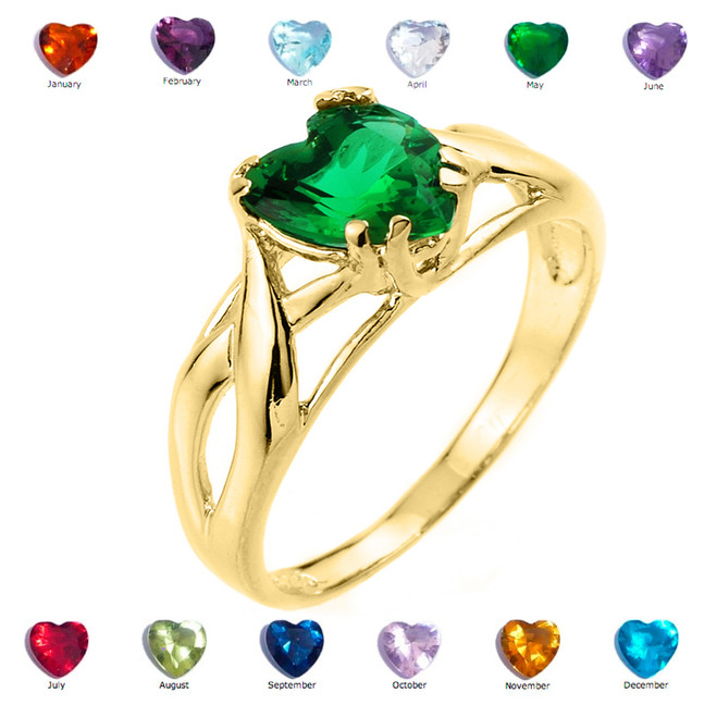 Yellow Gold Birthstone Heart Cubic Zirconia Infinity Band Ladies Ring