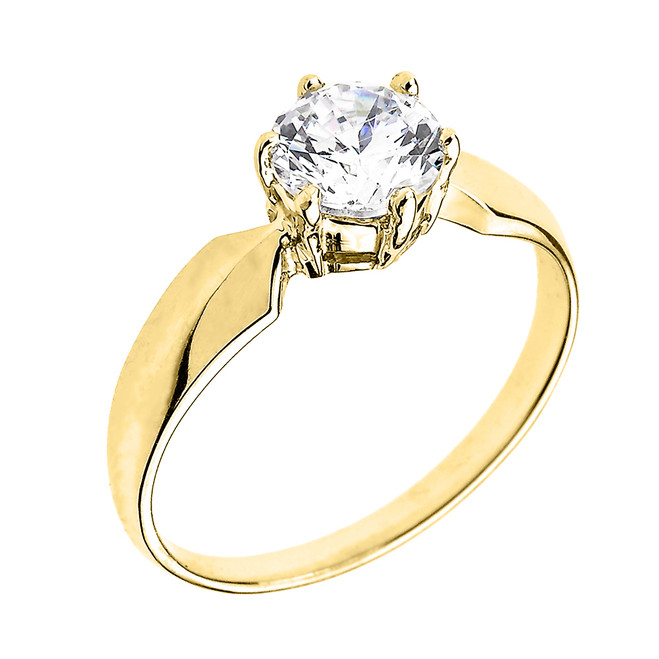 Yellow Gold Chevron Band 1.60 ct Cubic Zirconia Dainty Solitaire Engagement Ring
