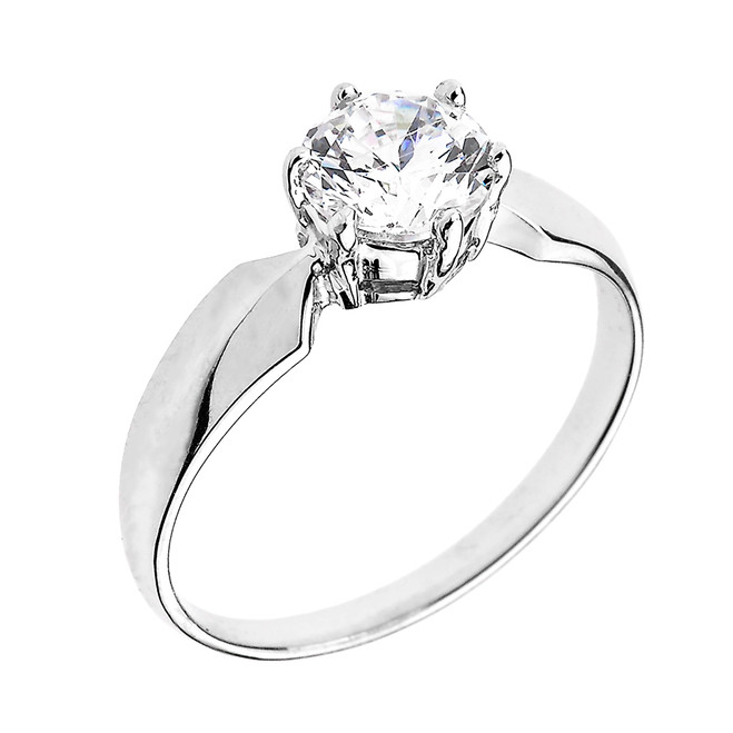 White Gold Chevron Band 1.60 ct Cubic Zirconia Dainty Solitaire Engagement Ring