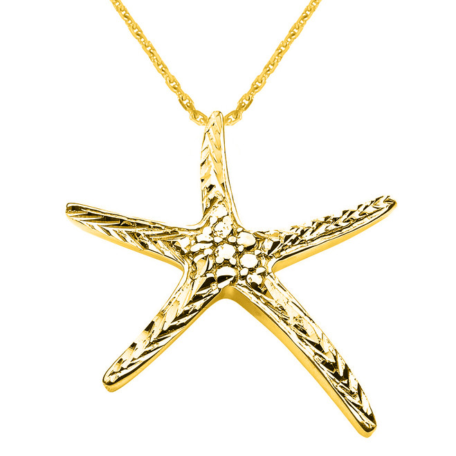 Yellow Gold Diamond Cut Starfish Pendant Necklace