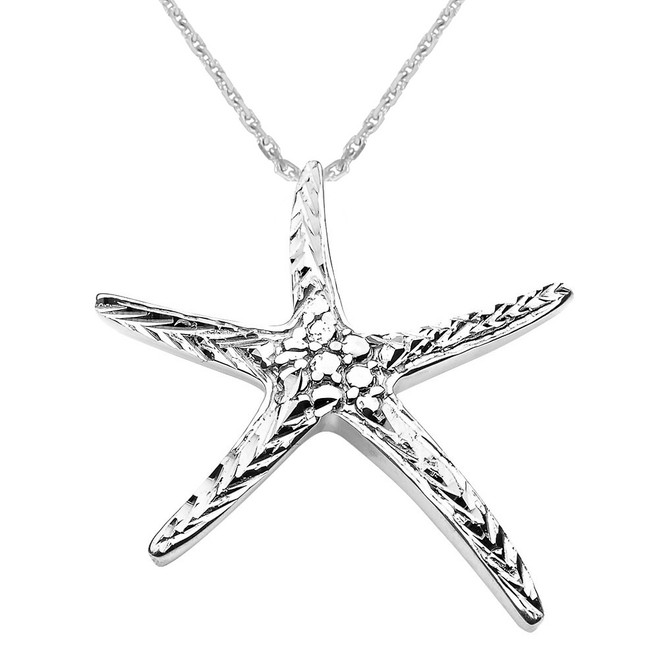 White Gold Diamond Cut Starfish Pendant Necklace