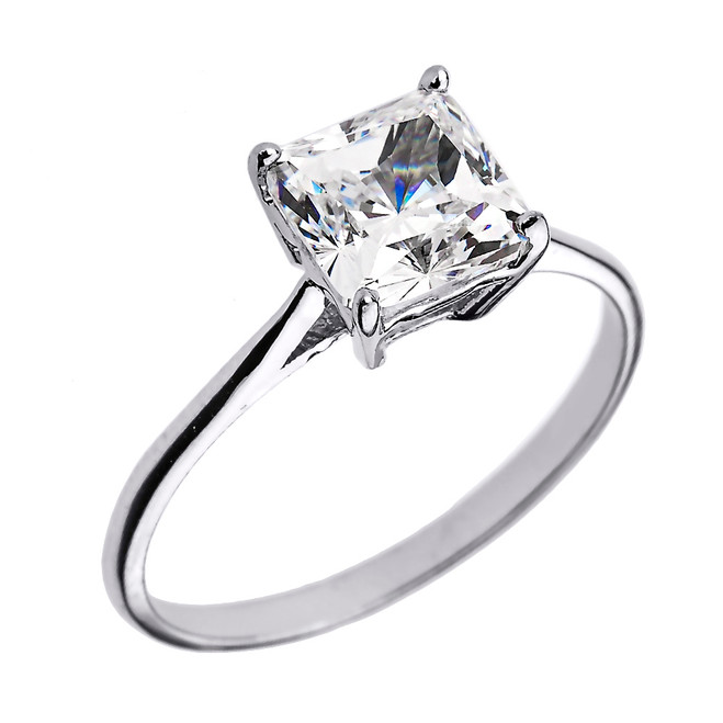 White Gold 3.00 ct Princess Cut CZ Dainty Solitaire Engagement Ring