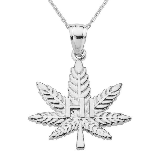 "Sterling Silver Marijuana Cannabis Leaf ""HI"" Script Pendant Necklace"