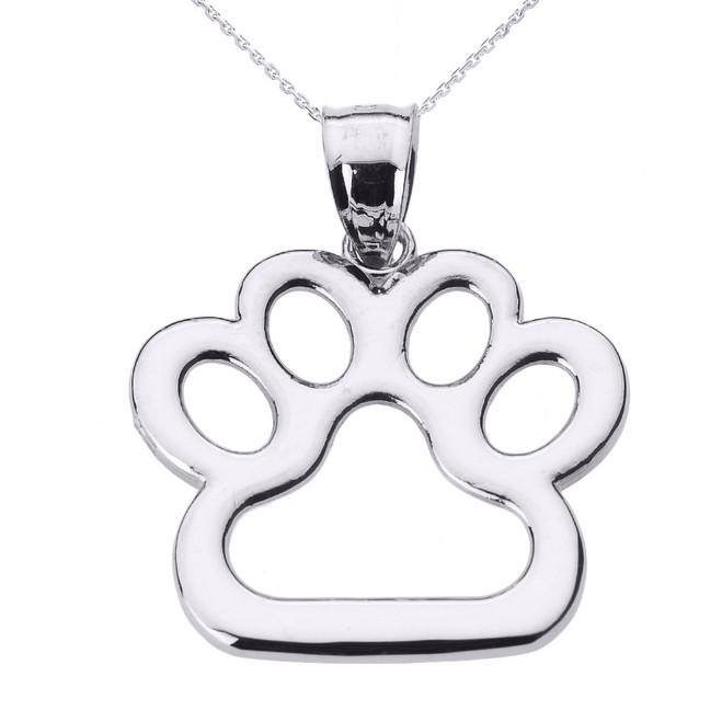 White Gold Dog Paw Print Pendant Necklace