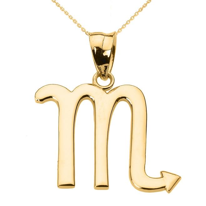 Yellow Gold Scorpio November Zodiac Sign Pendant Necklace