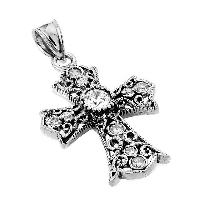 Oxidized Sterling Silver Celtic Cross Pendant with White Cubic Zirconia