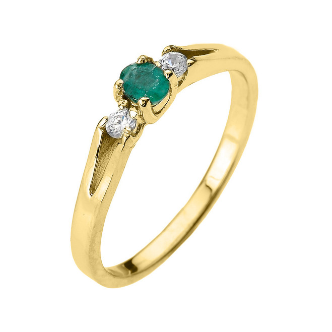 Beautiful Yellow Gold Diamond with Emerald Proposal and Birthstone Ring