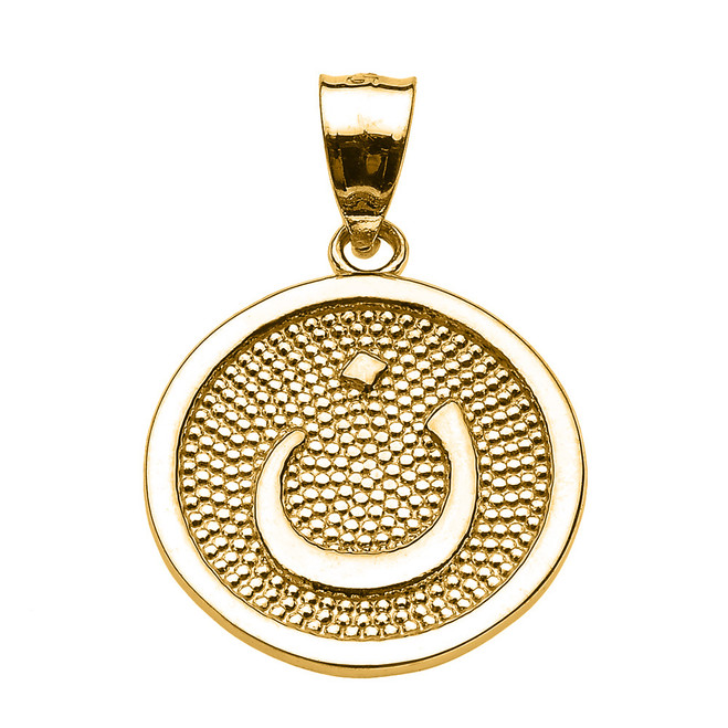 "Yellow Gold Arabic Letter ""nuun"" Initial Charm Pendant"