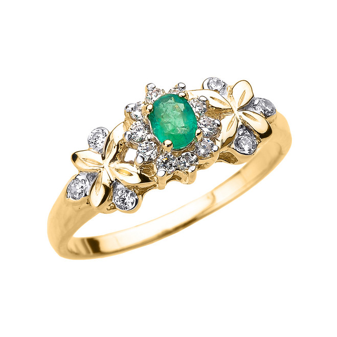 Yellow Gold Emerald and Diamond Engagement Ring