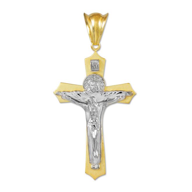 Two-Tone White Gold Holy Trinity Crucifix Pendant Midsize