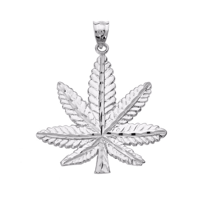 Sterling Silver Marijuana Leaf Cannabis Charm Pendant