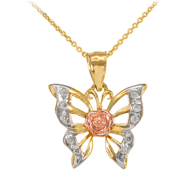 Three-Tone Gold Butterfly CZ Pendant Necklace
