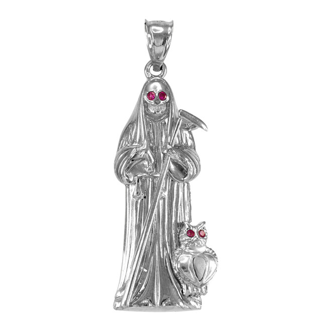 White Gold Santa Muerte Red CZ Pendant