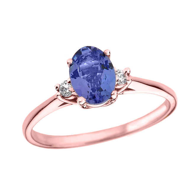 Rose Gold Oval Tanzanite and Diamond Engagement Proposal Ring
