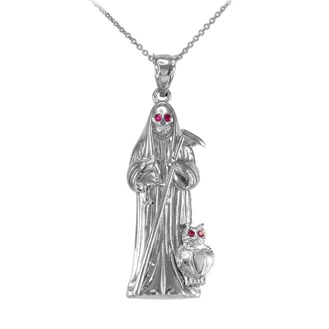 White Gold Santa Muerte Owl Red CZ Pendant Necklace