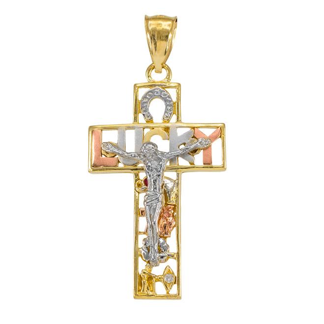 Multi-tone Gold LUCKY Crucifix CZ Pendant