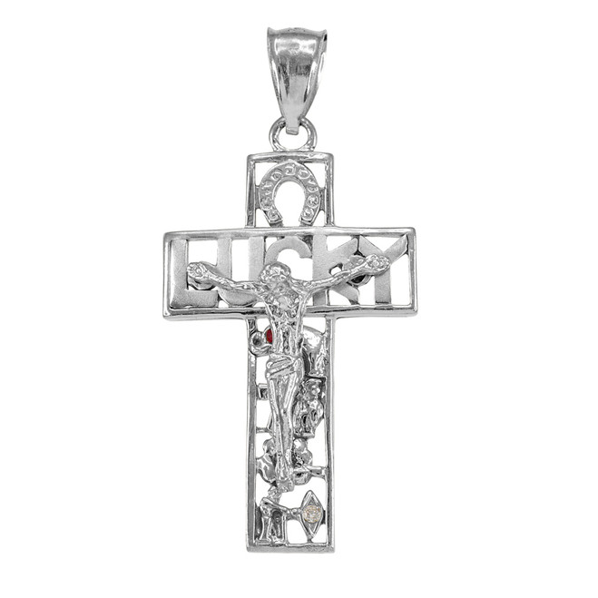 White Gold LUCKY Crucifix CZ Pendant