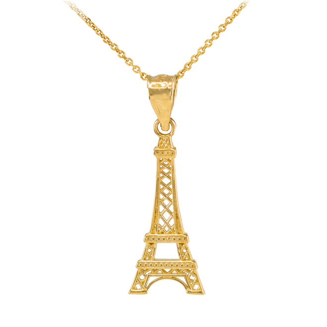 Gold Eiffel Tower Pendant Necklace