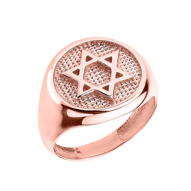 Solid Rose Gold Jewish Star of David Men's Ring