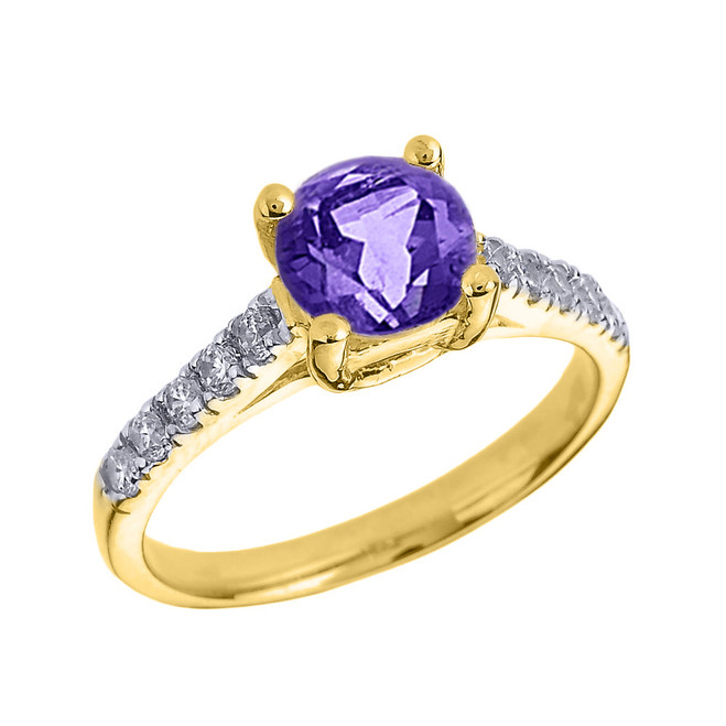 rose gold amethyst and black diamond solitaire engagement ring. Black Bedroom Furniture Sets. Home Design Ideas