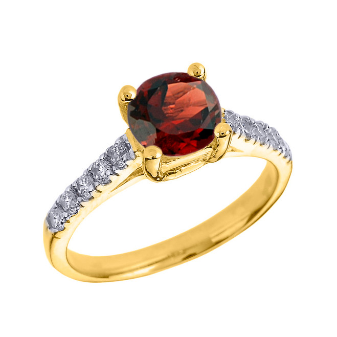 Yellow Gold Diamond and Garnet Solitaire Engagement Ring
