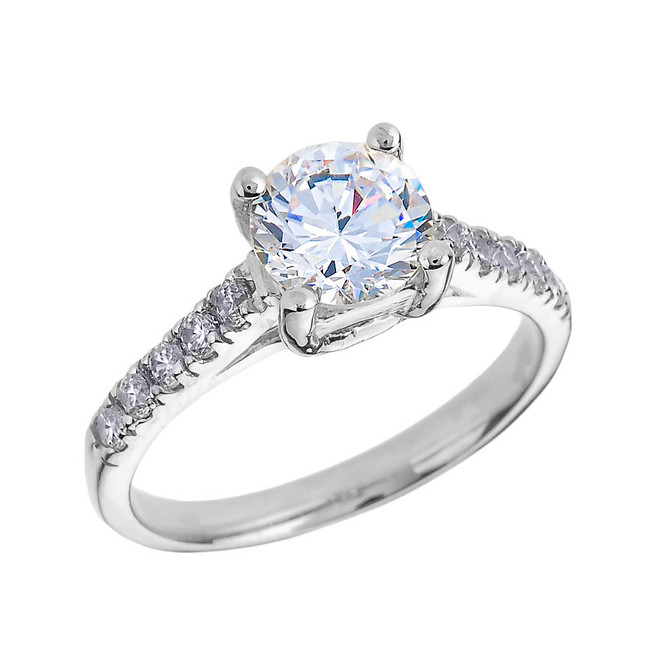 White Gold Diamond and White Topaz Solitaire Engagement Ring
