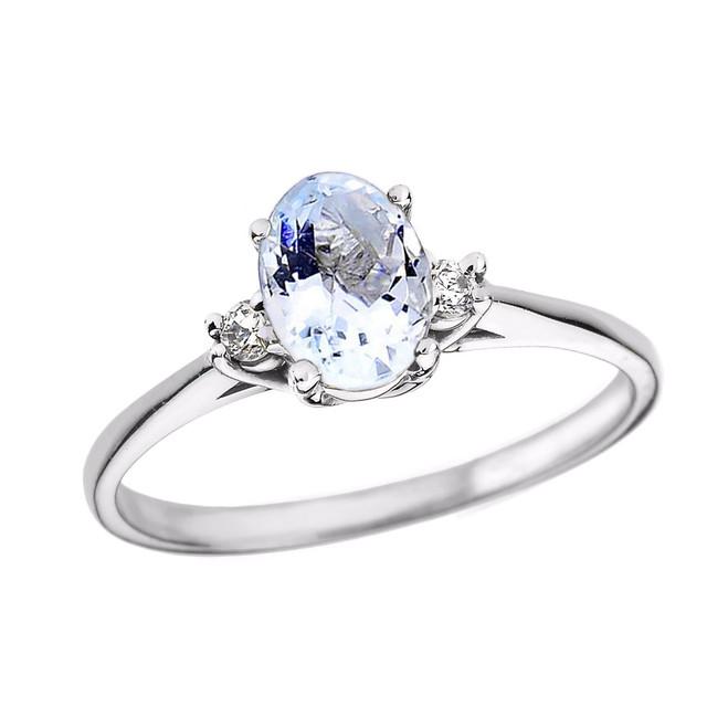 White Gold Oval Aquamarine and Diamond Engagement Proposal Ring