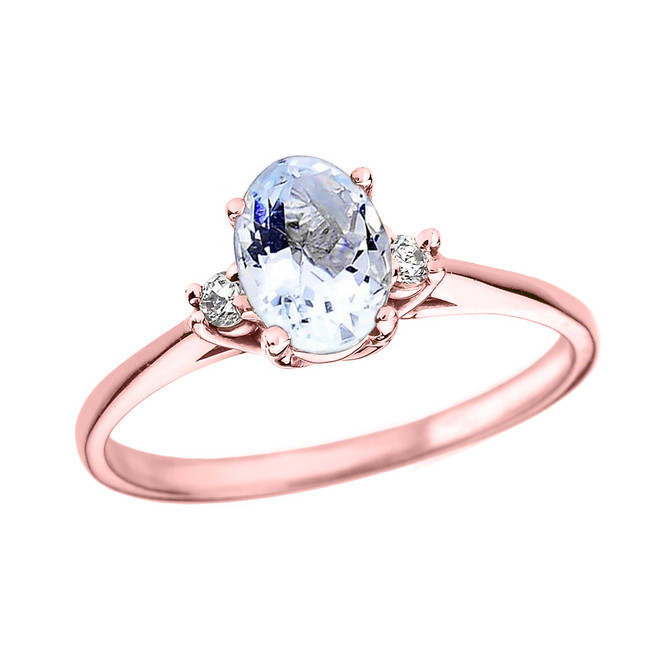 Rose Gold Oval Aquamarine and Diamond Engagement Proposal Ring