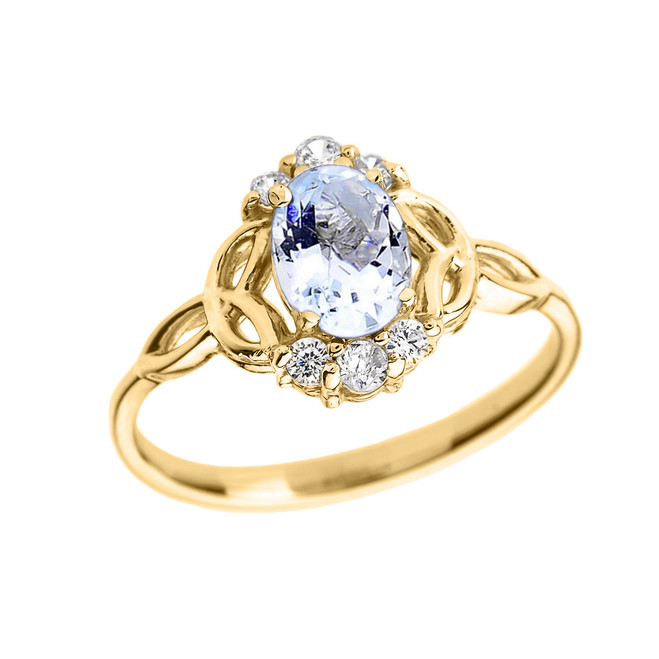 Yellow Gold Aquamarine and Diamond Trinity Knot Proposal Ring