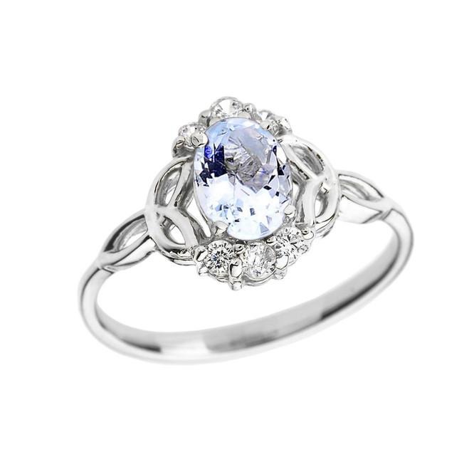 White Gold Aquamarine and Diamond Trinity Knot Proposal Ring