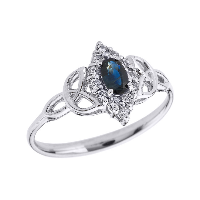 White Gold Diamond and Oval Sapphire Trinity Knot Proposal Ring