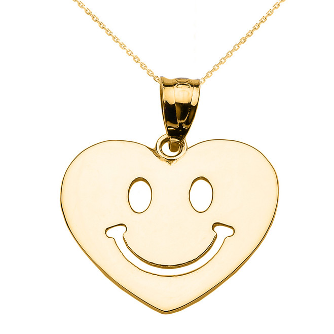 Yellow Gold Happy Smiley Face Heart Pendant Necklace