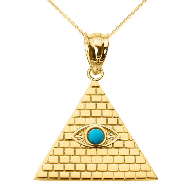 Yellow Gold Egyptian Pyramid with Turquoise Evil Eye Pendant