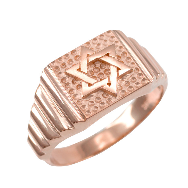 Rose Gold Star of David Jewish Ring