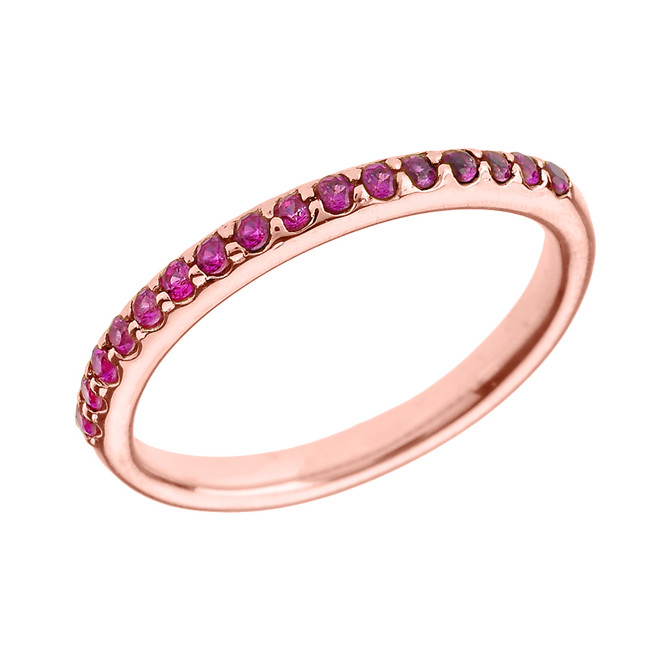 14k Rose Gold Red CZ Stackable Wedding Band