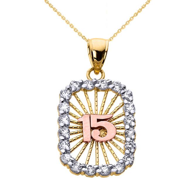 Tri-color Gold Sweet 15 Años Quinceanera CZ Pendant Necklace