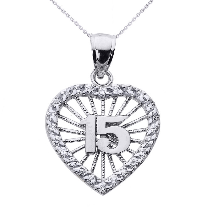 White Gold Sweet 15 Años Quinceanera CZ Heart Pendant Necklace