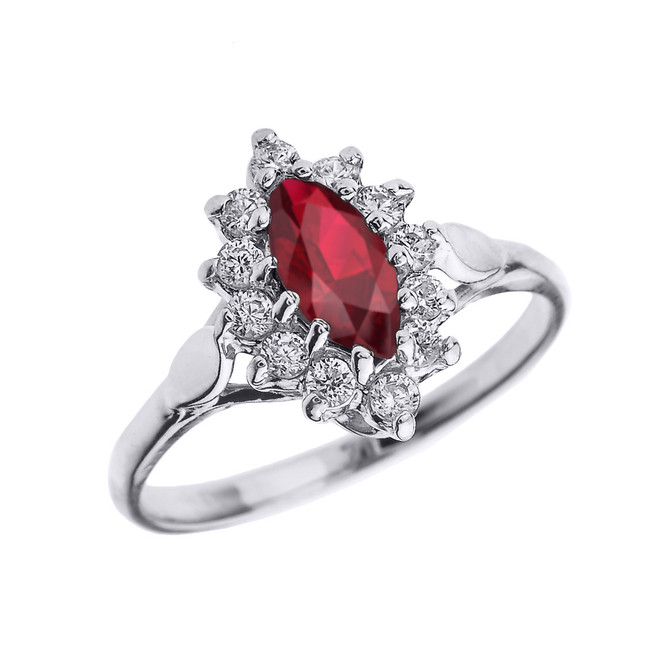 White Gold Diamond and Marquise Ruby Proposal Engagement Ring