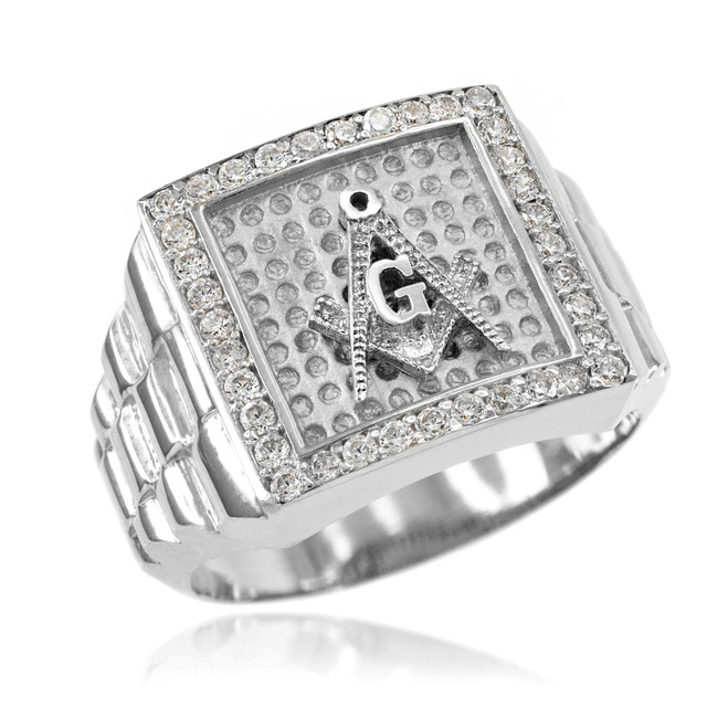 Silver Watchband Design Men's Masonic CZ Ring