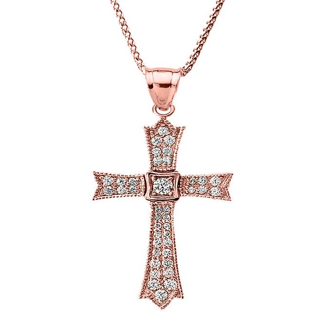 14k Rose Gold Diamond Cross Pendant Necklace