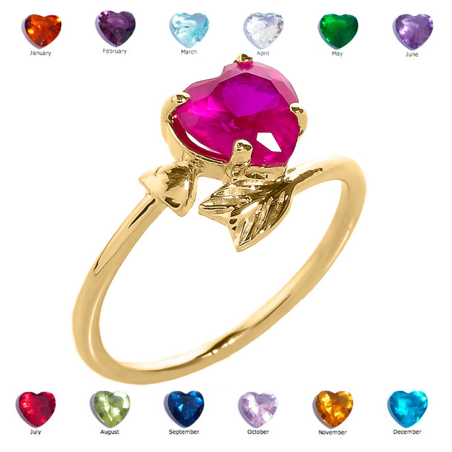 Yellow Gold Heart and Arrow Birthstone Cubic Zirconia Ladies Ring
