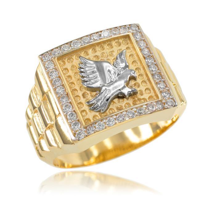 Gold Watchband Design Men's Eagle CZ Ring