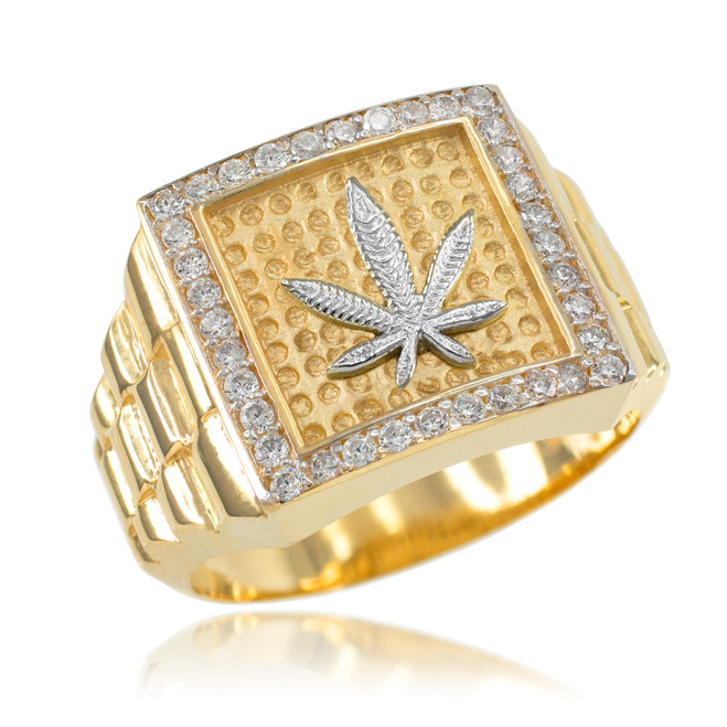 Gold Watchband Design Men's Marijuana CZ Ring